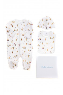 Komplet niemowlęcy: śpioch, czapeczka, śliniak, Ralph Lauren
