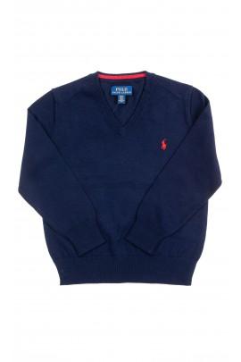 Granatowy sweter chłopięcy w literę V, Polo Ralph Lauren