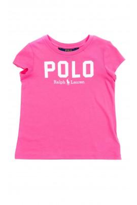 Ciemno-różowy t-shirt dziewczęcy z napisem POLO, Polo Ralph Lauren