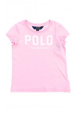 Różowy t-shirt dziewczęcy z napisem POLO, Polo Ralph Lauren