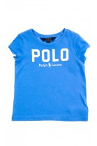 Niebieski t-shirt dziewczęcy z napisem POLO, Polo Ralph Lauren
