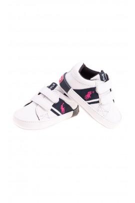 Białe trampeczki niemowlęce dla dziewczynki, Ralph Lauren
