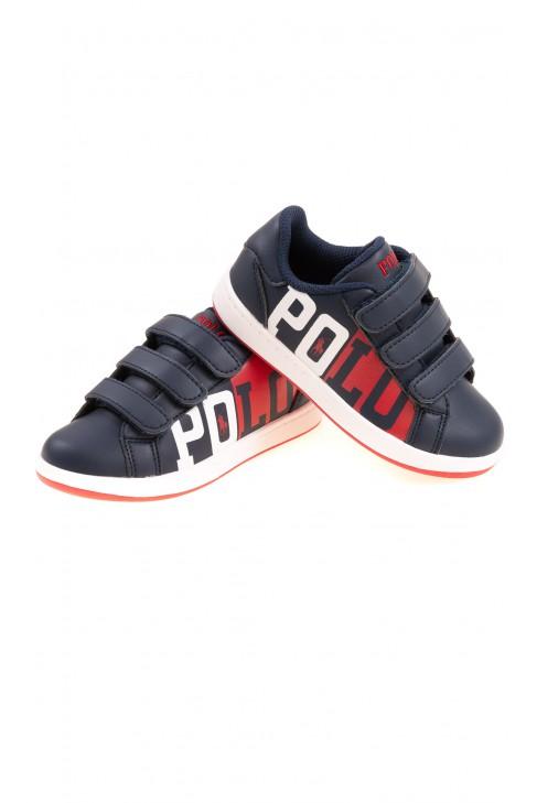 Granatowe buty sportowe dla chłopca z dużym napisem POLO, Polo Ralph Lauren