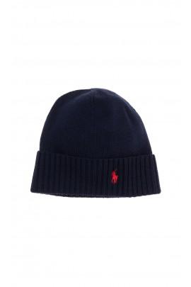Granatowa czapka chłopięca wciągana z wywijanym ściągaczem, Polo Ralph Lauren