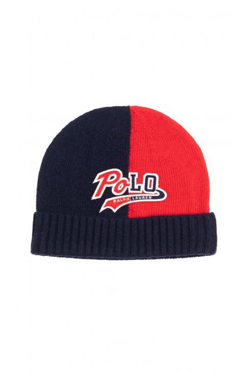 Granatowo-czerwona czapka chłopięca wciągana z wywijanym ściągaczem, Polo Ralph Lauren