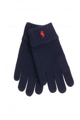 Granatowe rękawiczki 5-palczaste chłopięce, Polo Ralph Lauren
