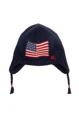 Granatowa czapka chłopięca-uszatka, Polo Ralph Lauren