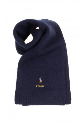 Granatowy elegancki szalik wełniany, Ralph Lauren