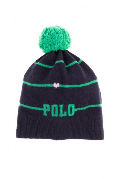 Granatowa czapka wciągana dziewczęca z zielonym pomponem, Polo Ralph Lauren