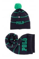 Granatowy podwójny szalik dziewczęcy w zielone paski, Polo Ralph Lauren