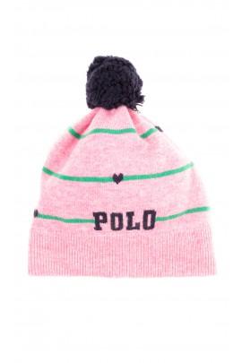 Różowa czapka dziewczęca z granatowym pomponem, Polo Ralph Lauren