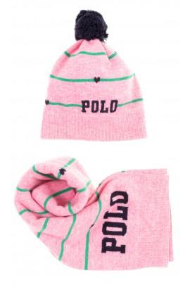 Różowy podwójny szalik dziewczęcy, Polo Ralph Lauren