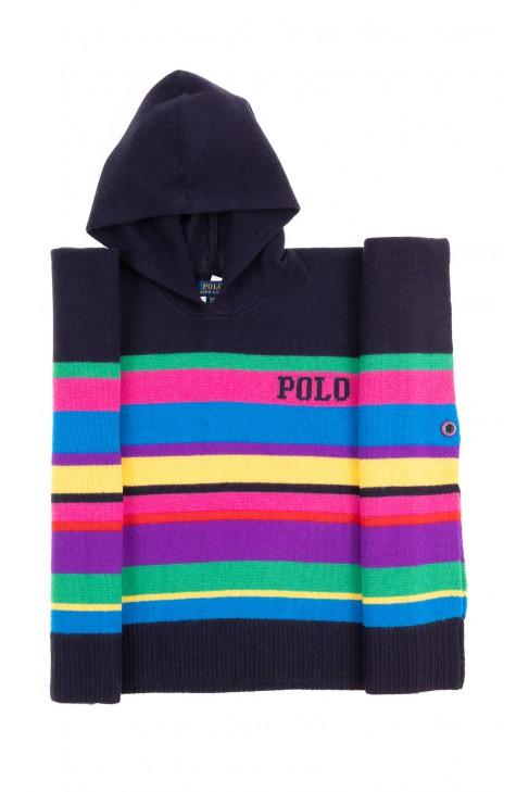 Ponczo w kolorowe paski z kapturem, Polo Ralph Lauren