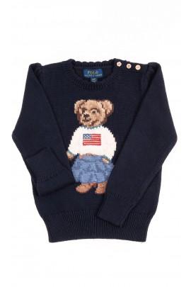Granatowy sweter z kultowym misiem, Polo Ralph Lauren