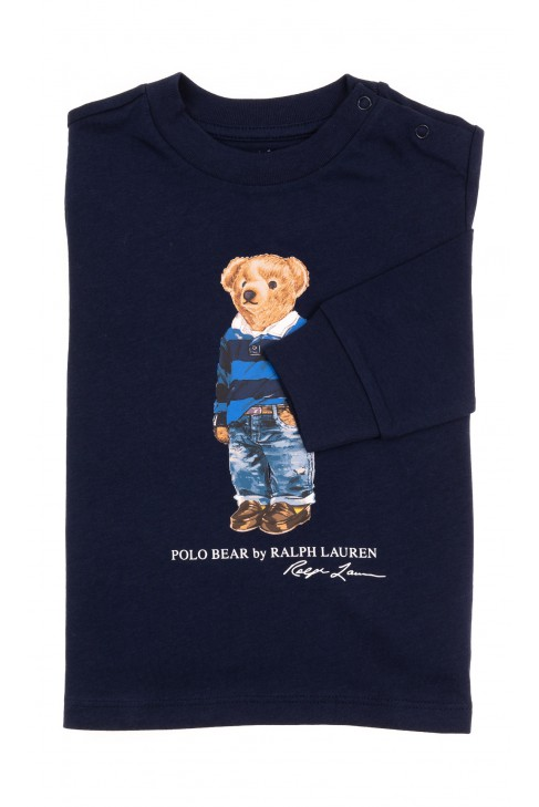 Granatowy t-shirt z długim rękawem z kultowym misiem, Ralph Lauren