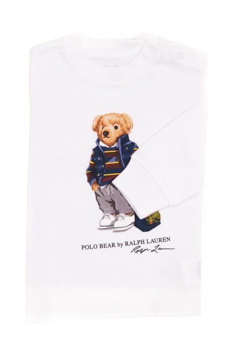 Biały t-shirt z długim rękawem z kultowym misiem, Ralph Lauren