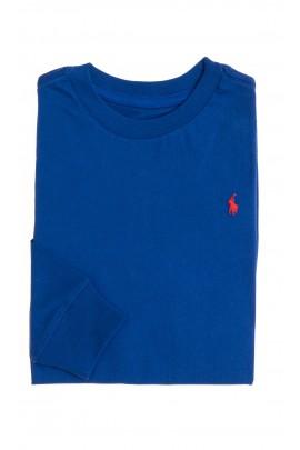 Szafirowy t-shirt z długim rękawem, Polo Ralph Lauren