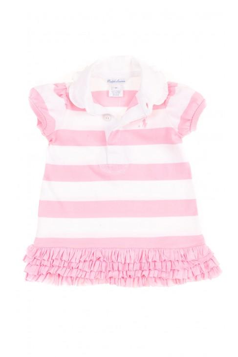 Niemowlęca sukienka w różowo-białe paski, Ralph Lauren