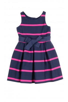 Elegancka granatowa sukienka w poziome różowe paski, Polo Ralph Lauren