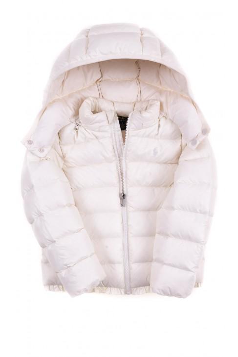 Biała puchowa kurtka dziewczęca, Polo Ralph Lauren