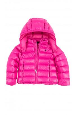 Różowa puchowa kurtka dziewczęca, Polo Ralph Lauren