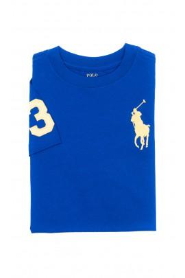 Szafirowy t-shirt chłopięcy na krótki rękaw, Polo Ralph Lauren