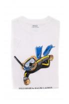 Biały t-shirt chłopięcy z kultowym misiem, Polo Ralph Lauren