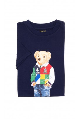 Granatowy t-shirt chłopięcy z kultowym misiem, Polo Ralph Lauren