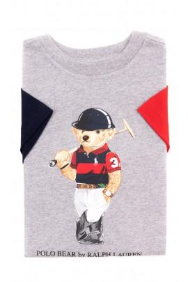 Szary t-shirt chłopięcy z kultowym misiem, Polo Ralph Lauren