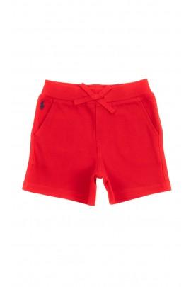 Czerwone krótkie bawełniane spodenki niemowlęce, Ralph Lauren