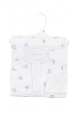 Biały kocyk dwustronny w niebieskie wzory, Ralph Lauren