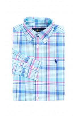 Niebieska chłopięca koszula w kratę, Polo Ralph Lauren
