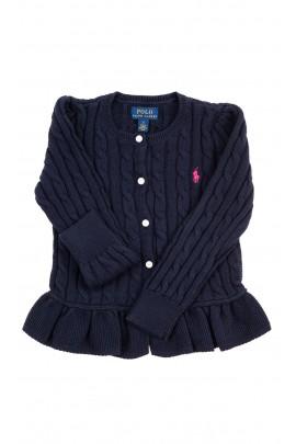 Granatowy sweter o splocie warkoczowym, Ralph Lauren