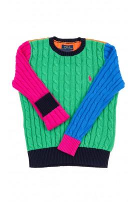 Kolorowy sweter dziewczęcy wkładany przez głowę, Polo Ralph Lauren