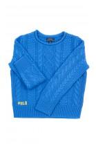 Elegancki szafirowy sweter z dekoracyjnymi splotami, Polo Ralph Lauren