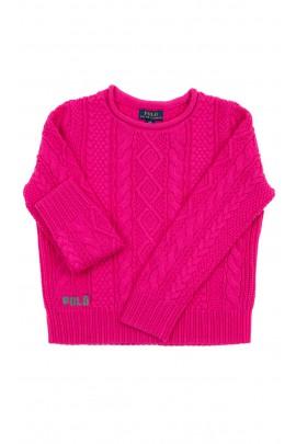 Elegancki różowy sweter dziewczęcy o różnych splotach, Polo Ralph Lauren