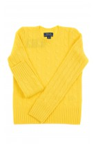 Żółty kaszmirowy sweter o splocie warkoczowym, Polo Ralph Lauren