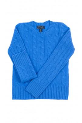 Niebieski kaszmirowy sweter o splocie warkoczowym, Polo Ralph Lauren