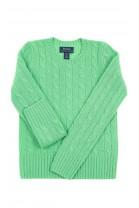 Zielony kaszmirowy sweter o splocie warkoczowym, Polo Ralph Lauren