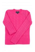 Różowy kaszmirowy sweter o splocie warkoczowym, Polo Ralph Lauren
