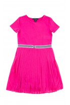 Różowa elegancka sukienka na dole plisowana, Polo Ralph Lauren