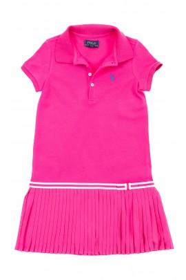 Różowa sukienka na dole plisowana, Polo Ralph Lauren