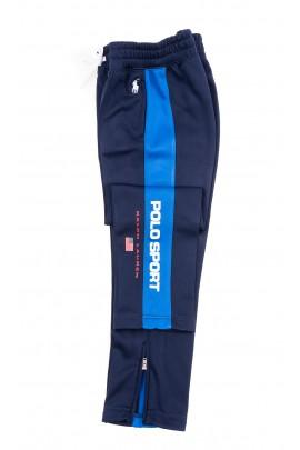 Granatowe spodnie dresowe z lampasami po bokach, Polo Ralph Lauren