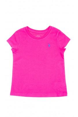 T-shirt dziewczęcy w kolorze fuksji, Polo Ralph Lauren