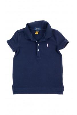 Granatowa koszulka polo dla dziewczynki, Polo Ralph Lauren