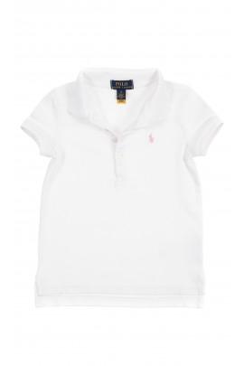 Biała koszulka polo dla dziewczynki, Polo Ralph Lauren