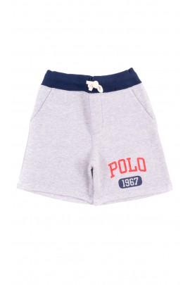 Szare krótkie spodenki dresowe dla chłopca, Polo Ralph Lauren