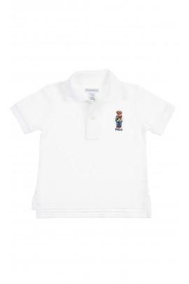 Biała niemowlęca koszulka polo z kultowym misiem, Ralph Lauren