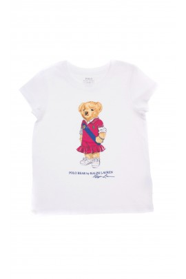 Biały t-shirt dziewczęcy z kultowym misiem, Polo Ralph Lauren