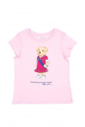Różowy t-shirt dziewczęcy z kultowym misiem, Polo Ralph Lauren